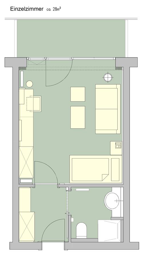 Grundriss Einzelzimmer